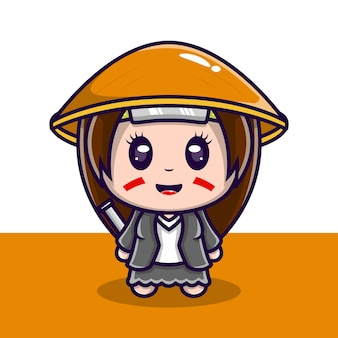 Simpatico personaggio illustrazione samurai ragazza con spada