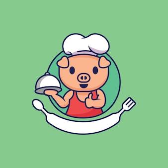 Chef di maiale simpatico personaggio