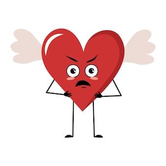 Simpatico personaggio cuore rosso con ali ed emozioni arrabbiate affronta braccia e gambe la festa divertente o scontrosa...