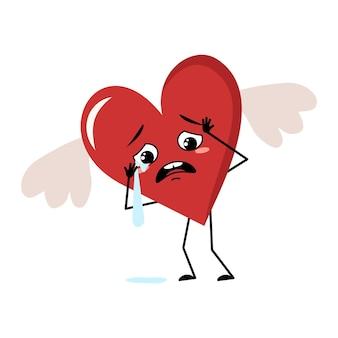 Simpatico personaggio cuore rosso con ali ed emozioni di pianto e lacrime, faccia triste, braccia e gambe. decorazione festiva per san valentino con gli occhi