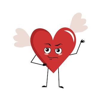 Simpatico personaggio cuore rosso con ali e le emozioni di un eroe, un viso coraggioso, braccia e gambe. decorazione festiva per san valentino
