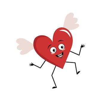 Simpatico personaggio cuore rosso con ali ed emozioni gioiose che ballano sorriso faccia occhi felici