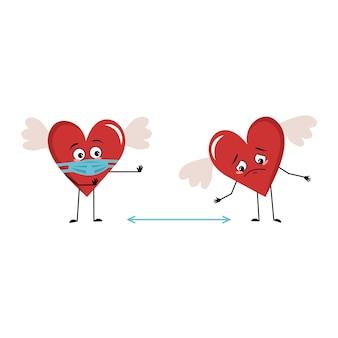 Simpatico personaggio cuore rosso con ali e con emozioni tristi, viso e maschera mantengono le distanze, braccia e gambe. decorazione festiva per san valentino