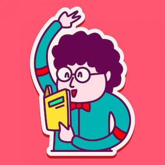 Simpatico personaggio adesivo per ragazzi che leggono un libro