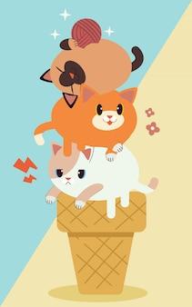 Simpatico personaggio tre gatti su gelato