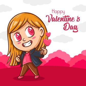 Saluto di san valentino simpatico personaggio