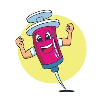 Il simpatico personaggio di un ago da vaccino molto eccitato