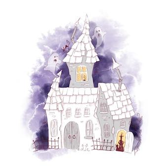 Illustrazione dell'acquerello della casa del castello della strega del personaggio carino per halloween