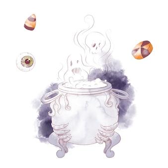 Illustrazione dell'acquerello del calderone della strega del personaggio carino per halloween