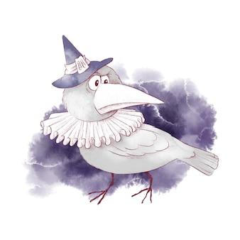 Illustrazione dell'acquerello del corvo della strega del personaggio carino per halloween