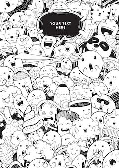 Simpatici personaggi scarabocchiati in stile cartone animato