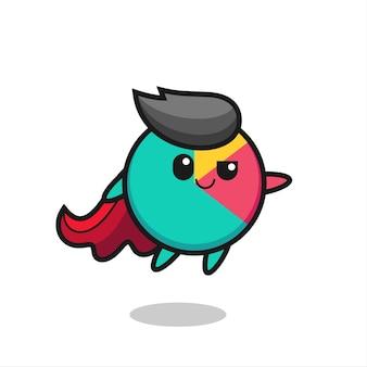 Il simpatico personaggio del supereroe grafico sta volando, design in stile carino per maglietta, adesivo, elemento logo
