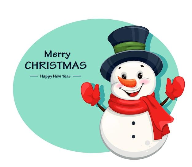 Simpatico pupazzo di neve di natale allegro. buon natale e felice anno nuovo