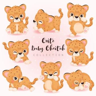 Simpatica collezione di illustrazioni di ghepardi in acquerello
