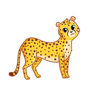Il simpatico ghepardo si erge su uno sfondo bianco