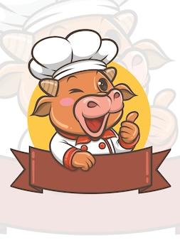 Simpatico personaggio dei cartoni animati di mucca chef - mascotte e illustrazione