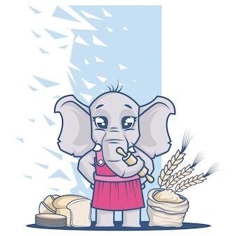 Elefante carino chef con cereali e roba da forno