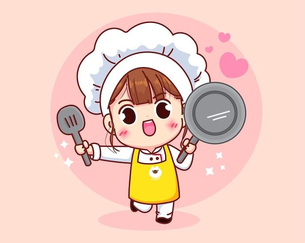 Ragazza sveglia del cuoco unico che sorride nell'illustrazione di arte del fumetto della padella e della spatola della tenuta uniforme
