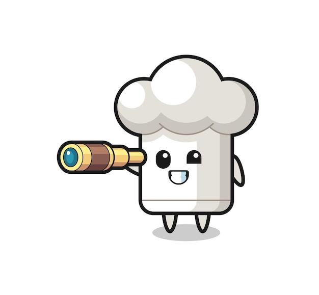 Il simpatico personaggio del cappello da chef tiene in mano un vecchio telescopio, un design in stile carino per maglietta, adesivo, elemento logo