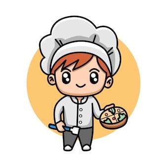 Cuoco unico sveglio che tiene un fumetto della pizza