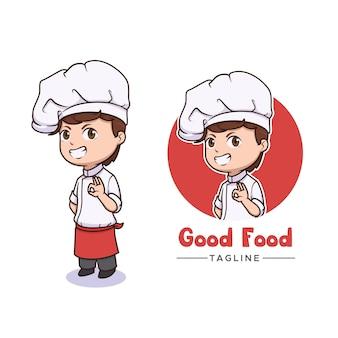 Simpatico design del logo della mascotte dello chef