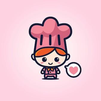 Mascotte chef carino