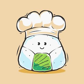 Illustrazione sveglia del fumetto dei sushi di onigiri del cuoco unico