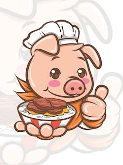 Simpatico personaggio dei cartoni animati di maiale chef presentando cibo di maiale cantonese - mascotte e illustrazione