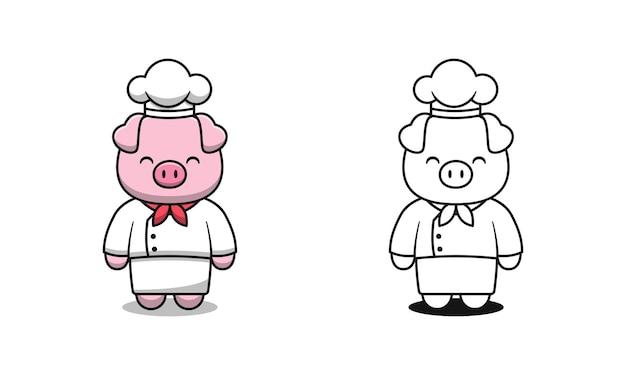 Simpatici cartoni da colorare per bambini con maiale chef