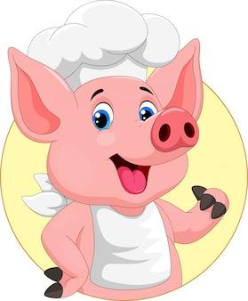 Simpatico cartone animato di maiale chef