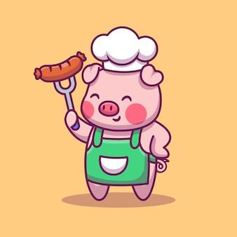 Maiale sveglio del cuoco unico che tiene l'illustrazione del fumetto della salsiccia. concetto di icona dello spazio