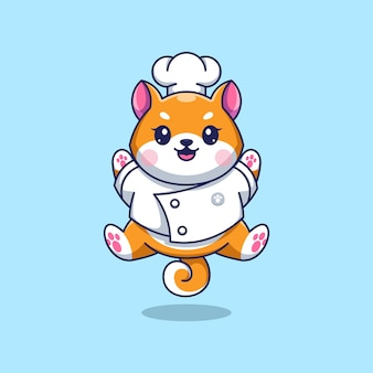 Simpatico cartone animato cane shiba inu chef