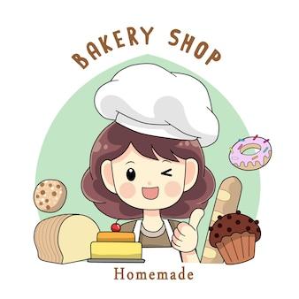 Illustrazione di arte del fumetto del logo fatto in casa del negozio di panetteria della donna dello chef carino