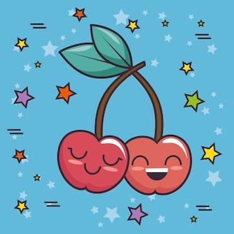 Carattere kawaii di ciliegie carine