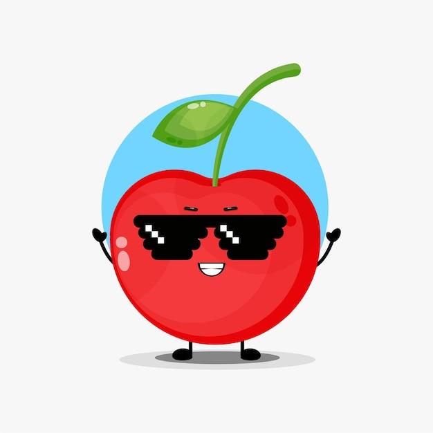 Simpatico personaggio ciliegia con occhiali pixel