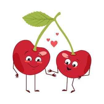 Simpatici personaggi di ciliegio con emozioni d'amore, viso, braccia e gambe. gli eroi del cibo divertenti o felici, la bacca si innamorano. illustrazione piatta vettoriale