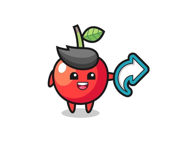 Simpatico simbolo di condivisione di social media con ciliegia, design in stile carino per t-shirt, adesivo, elemento logo