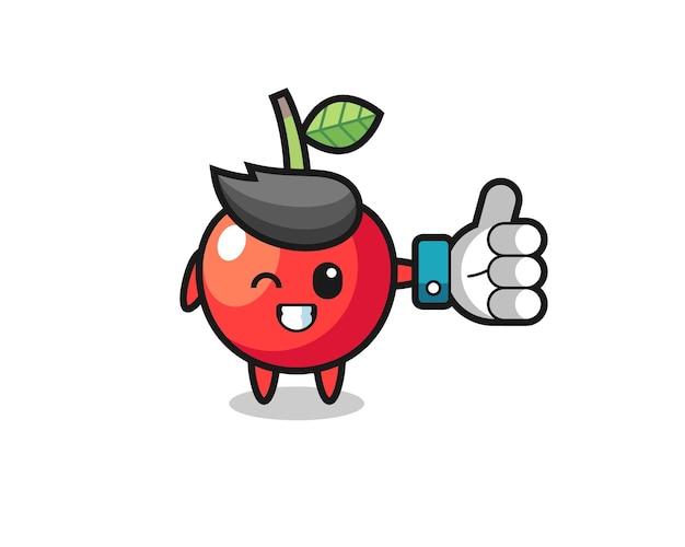 Ciliegia carina con il simbolo del pollice in alto dei social media, design in stile carino per maglietta, adesivo, elemento logo