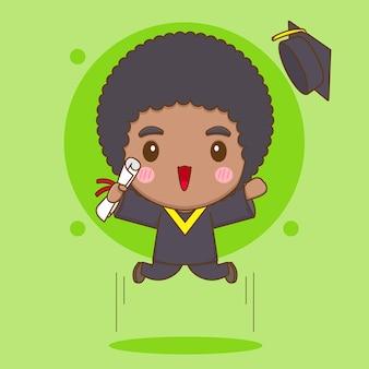Simpatico studente di carattere chibi in abito da laurea che salta