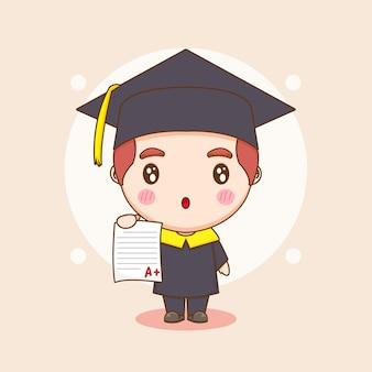 Simpatico studente di carattere chibi in abito da laurea