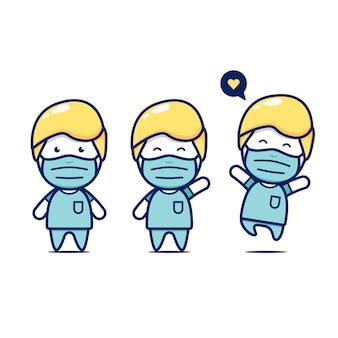 Set di chirurgo medico chibi carino