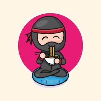 Simpatico ninja chibi che mangia illustrazione di cartone animato ramen
