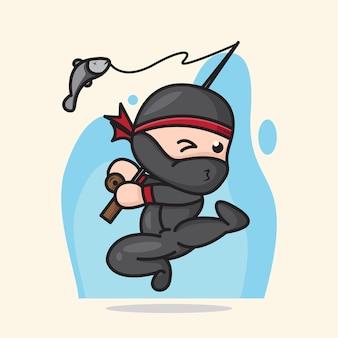 Carino chibi ninja che pesca con l'illustrazione del fumetto di stile