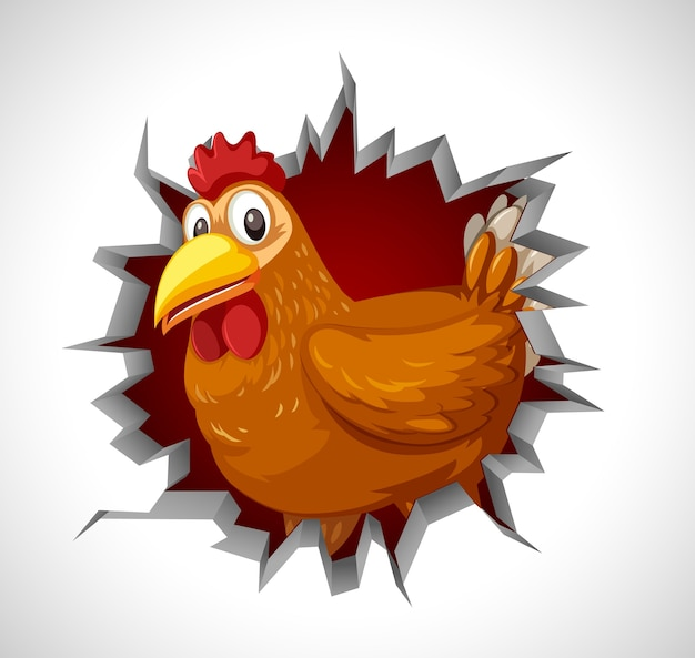 Pollo sveglio che esce dalla parete incrinata