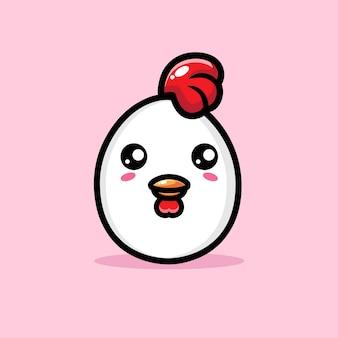 Simpatico personaggio a forma di uovo di gallina