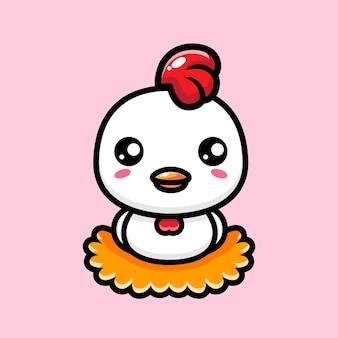 Uova di gallina carino sulla paglia