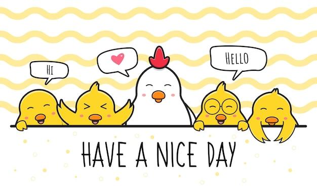 Cartolina d'auguri di famiglia di pollo carino doodle fumetto icona illustrazione piatto stile cartone animato design