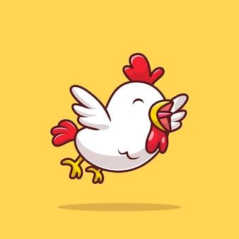 Cartone animato carino pollo volante