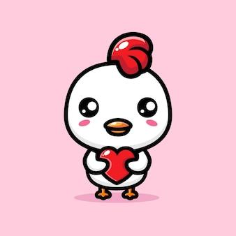 Pollo carino che abbraccia un cuore d'amore