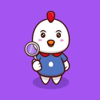 Illustrazione sveglia dell'icona del fumetto di pollo e lente d'ingrandimento.